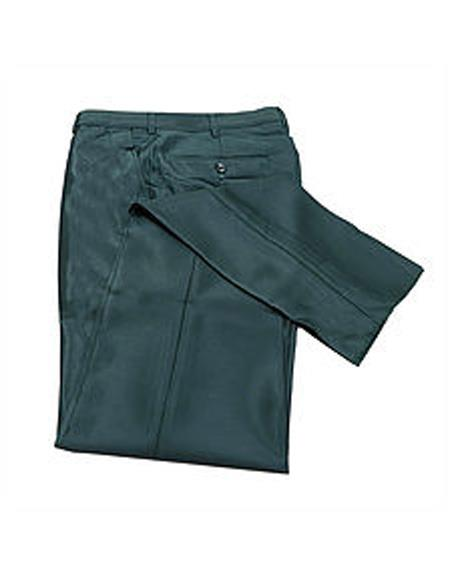 Mens Slim Fit Sharkskin Metallic Shiny Dress Pants Slim Dark Green