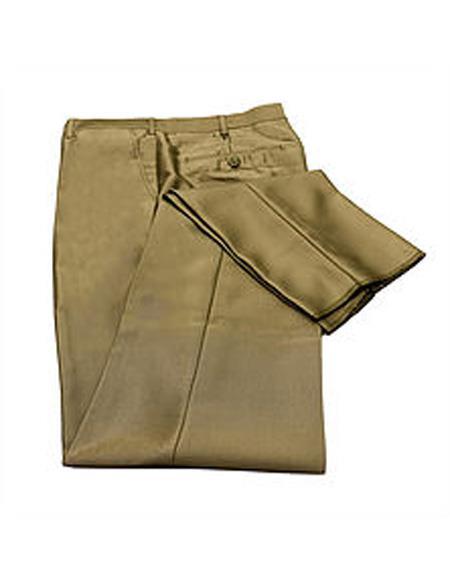 men's Tan Slim Fit Flat Front Pants