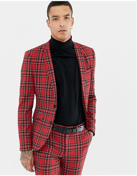 2 Buttons Red and Black Plaid Tartan Fabric Window Pane Men's Suit By Alberto Nardoni Under $200