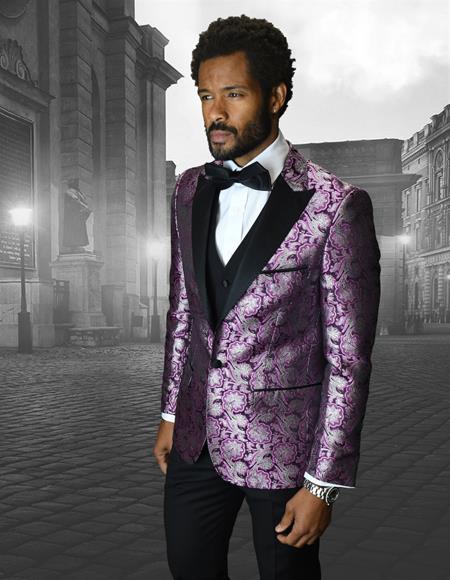 Single Breasted Peak Label Purple ~ Laveder Black and Purple Tuxedo Suit