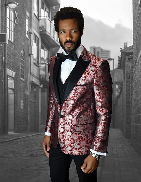 Product#JA1132 Single Breasted Peak Label Red ~ White Tuxedo Suit