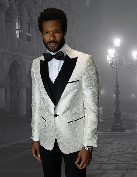 Single Breasted Peak Label Ivory ~ Cream ~ Off White Tuxedo Suit