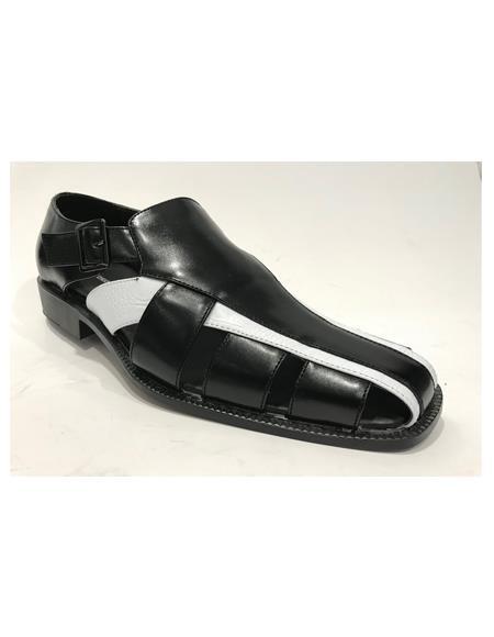 Product#JA1143 Mens Black/White Synthetic Closed Toe Dress Sandals