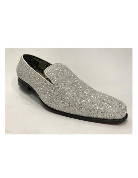 Product#JA1144 Mens Silver Slip On Style Shoes