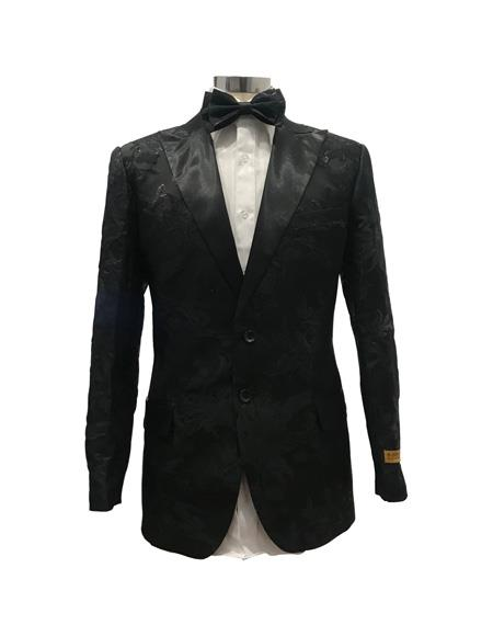 Mens Black Single Breasted Two Button Suit
