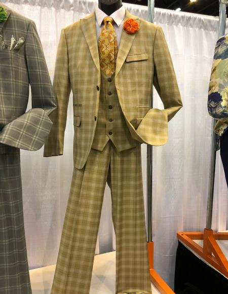 breasted peak lapel camel