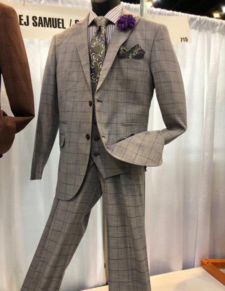pocket coffee windowpane suit