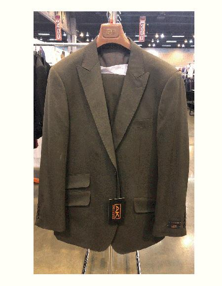 Classic Fit Olive Green 100% Wool 2 Buttons Peak Lapel Vested Suit for Men Pleated Pants Ticket Pocket