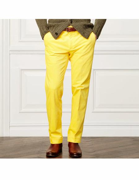 Linen Dress Pants Yellow