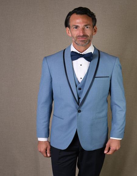 Genova Steel Blue 1-Button Shawl Tuxedo