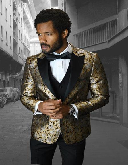 Gold 1-Button Peak Tuxedo