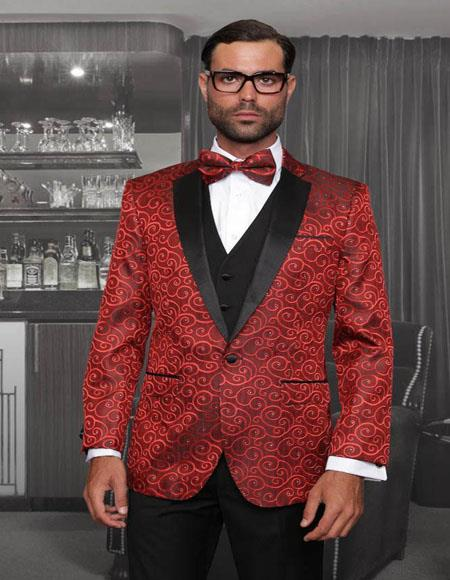 Bellagio Red 1-Button Notch Tuxedo - 3 Piece Suit For Men - Three piece suit