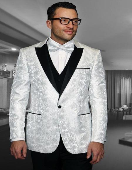 White 1-Button Peak Tuxedo