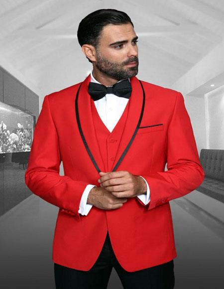 Genova Red 1-Button Shawl Tuxedo