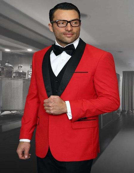 Encore Red 1-Button Shawl Tuxedo - 3 Piece Suit For Men - Three piece suit