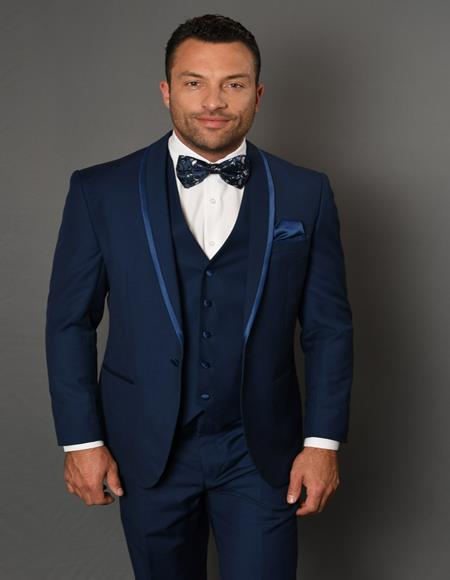 Caesar Sapphire 1-Button Shawl Tuxedo - 3 Piece Suit For Men - Three piece suit