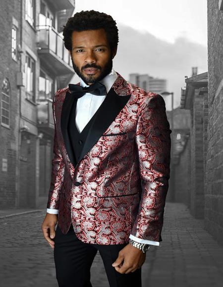 Bellagio IV Red 1-Button Peak Tuxedo - 3 Piece Suit For Men - Three piece suit