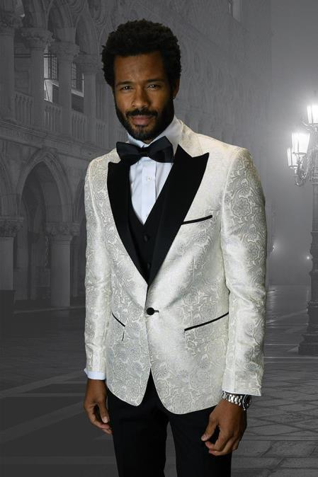 Off-White 1-Button Peak Tuxedo
