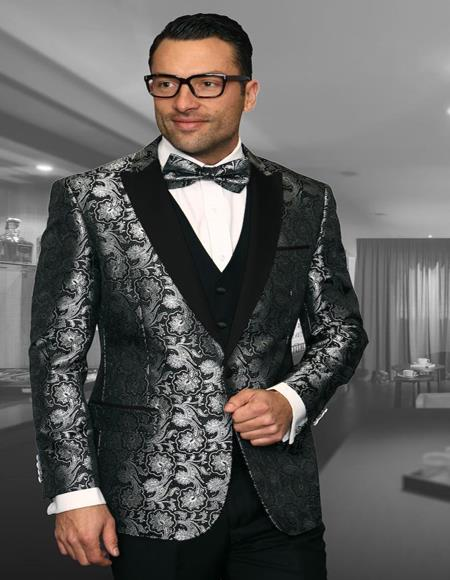 Black 1-Button Peak Tuxedo