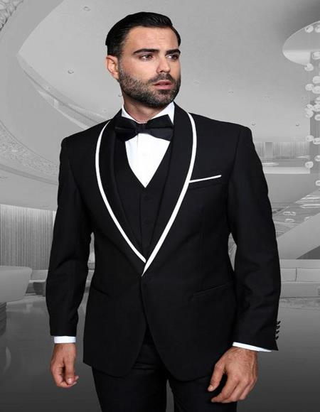 Genova Black 1-Button Shawl Tuxedo - 3 Piece Suit For Men - Three piece suit