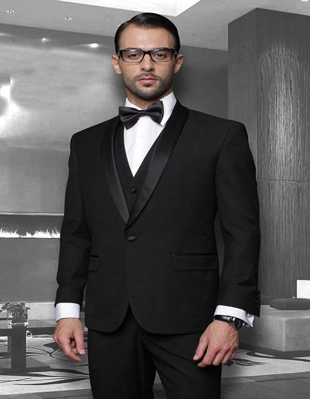 Theo Black 1-Button Shawl Tuxedo - 3 Piece Suit For Men - Three piece suit
