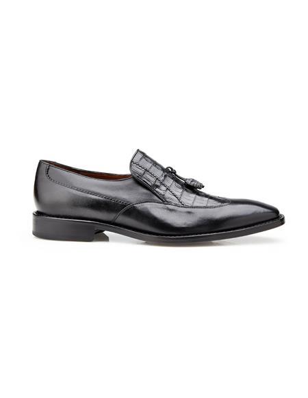 Authentic men's Mezlan Dress Shoe Bosco, in Black Alligator and Italian Calf Wing Tip Style: 4B2