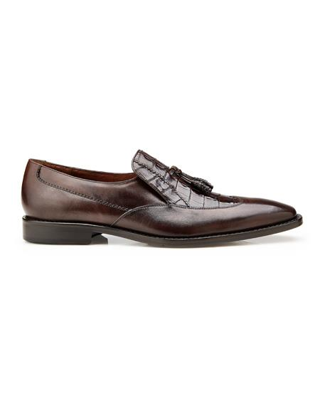 Authentic men's Mezlan Dress Shoe Bosco, in Tobacco Alligator and Italian Calf Wing Tip Style: 4B2