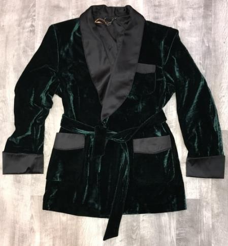 Mens One Button Double Breasted Green Velvet Suit for Men