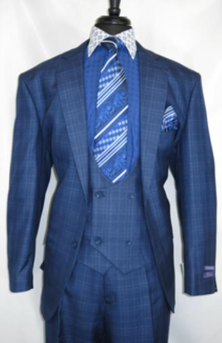 -BluePlaid- Vested Mens Suit