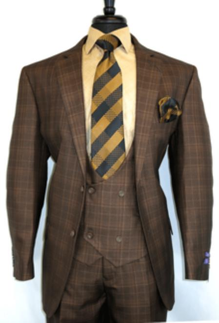 -BrownChestnut- Plaid Vested Mens
