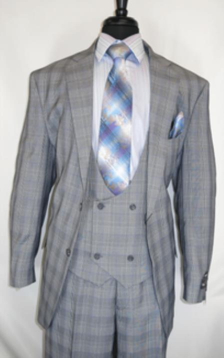 Fortino Landi #5702v6-Grey.Plaid- Vested Men's Suit