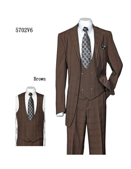 Windowpane Vested Suit with