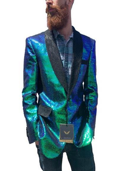 men's Iridescent Green Sequin Blazer with Black Lace Shawl Lapel