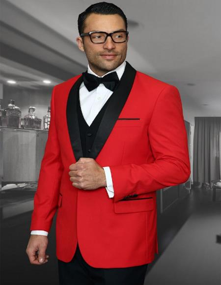 Mens 1 Button Shawl Collar Two Toned Tuxedo Dinner Jacket Cheap Blazer Jacket For Men Red
