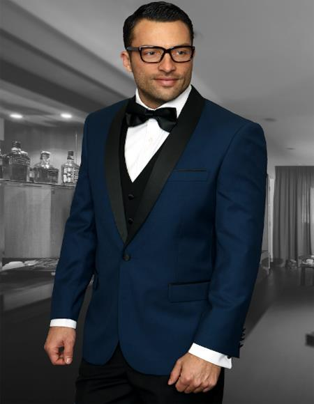 Mens One Button Shawl Collar Two Toned Tuxedo Dinner Jacket Blazer Indigo