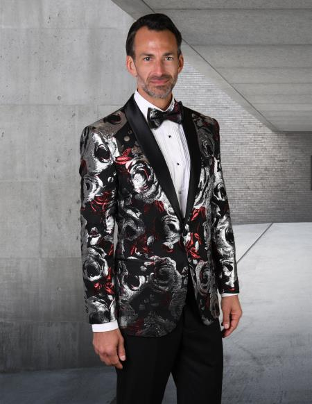 Red Tuxedo And Black Dinner Jacket Blazer ~ Sport Coat Prom Wedding