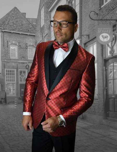 Red Tuxedo And Black Dinner Jacket Sport Coat Blazer Prom Wedding