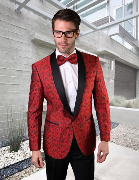 Mens Red Tuxedo And Black Dinner Jacket Blazer ~ Sport Coat Prom Wedding