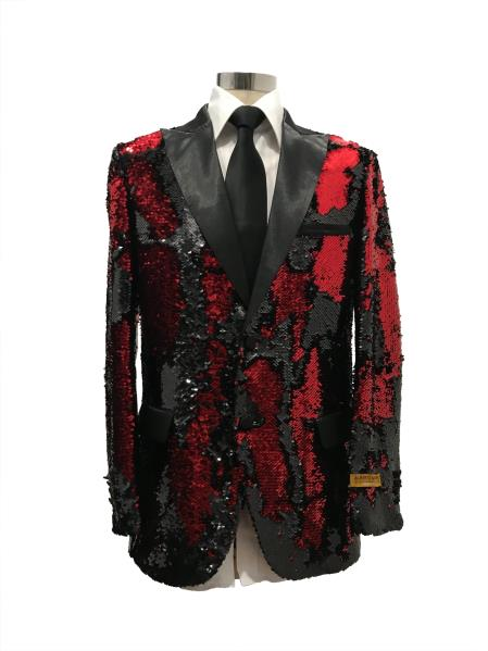 Mens Two Button Single Breasted Black  ~ Red Suit For Men Perfect For Prom