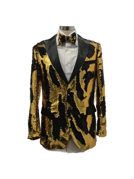 Mens Two Button Single Breasted Gold ~ Black Suit