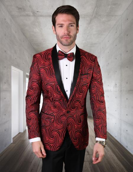 Red Tuxedo And Black Dinner Jacket Sport Coat Blazer