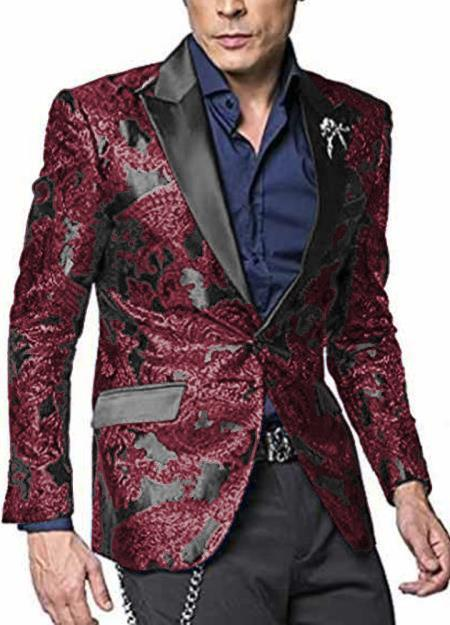 Mens Burgundy ~ Maroon ~ Wine Paisley Pattern Big And Tall Mens Sport Coat