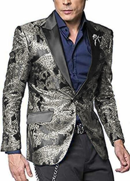 Silver grey single breasted two button men's suit