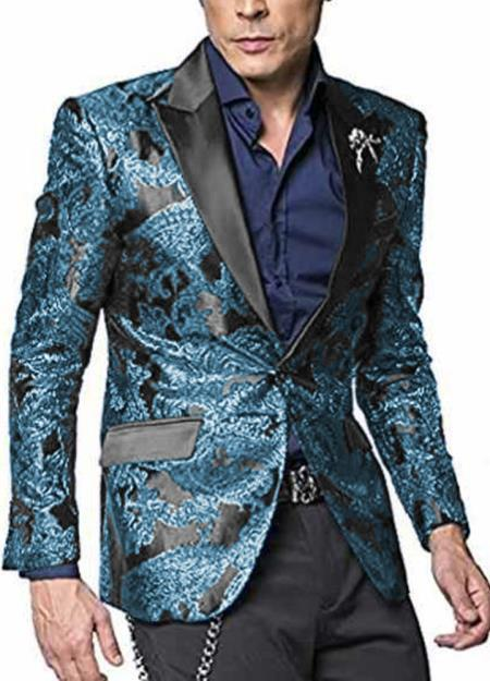 Tiffany Blue ~ Dark Turquoise Two Button Single Breasted Big And Tall Mens Sport Coat