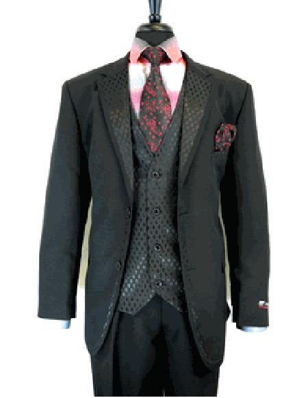 Black 2 Button Single Breasted Notch Lapel Suit