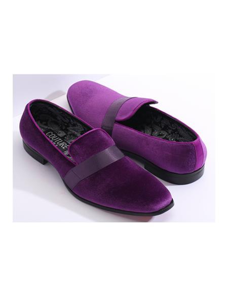 Mens Slip On Purple Couture Velvet Fabric Black and Purple Tuxedo Mens Purple Dress Shoe