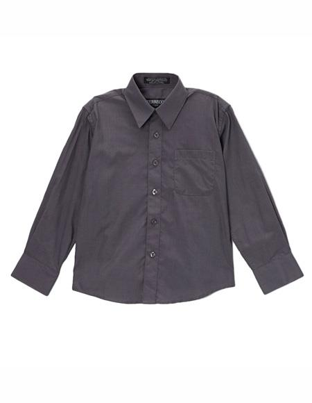 Mens Shirt Regular Fit Button Closure Charcoal