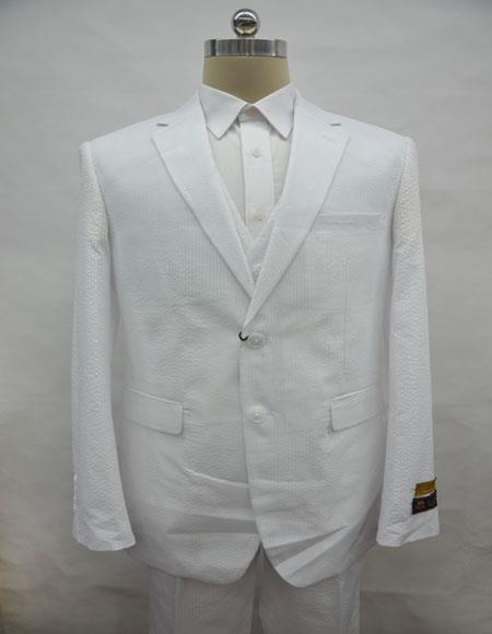 Mens Single Breasted Notch Label White Colour Suit