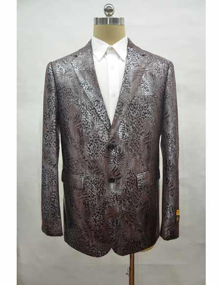 Men's brown leather printed notch lapel blazer