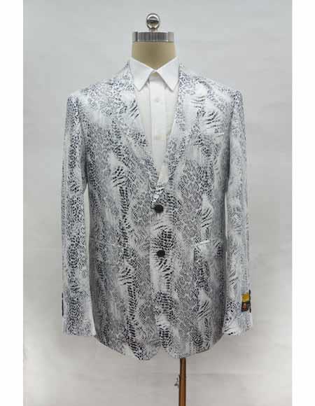Two button chest pocket leather printed white blazer